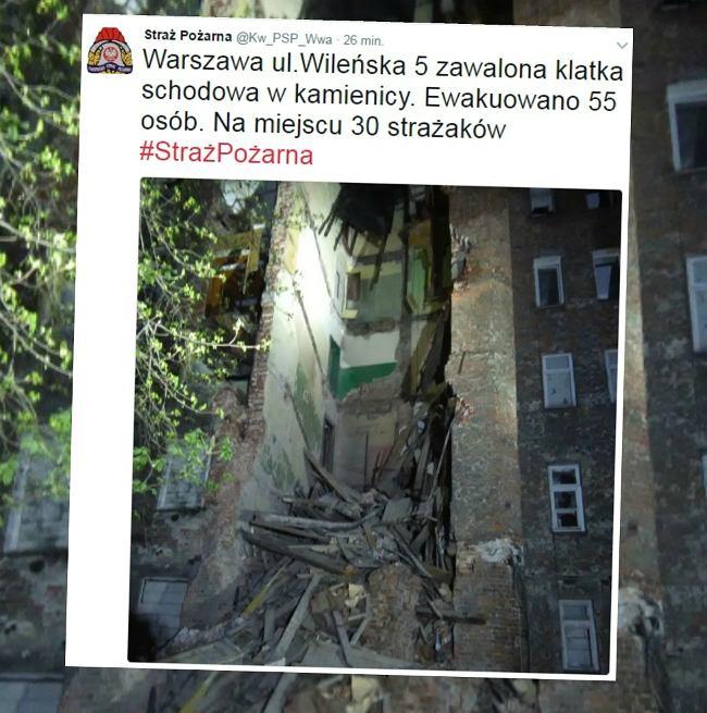 Zawalona kamienica w Warszawie