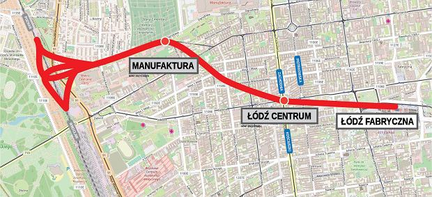Łódź zyska tunel średnicowy. Będzie drążony jak warszawskie metro. Mapa pogądowa