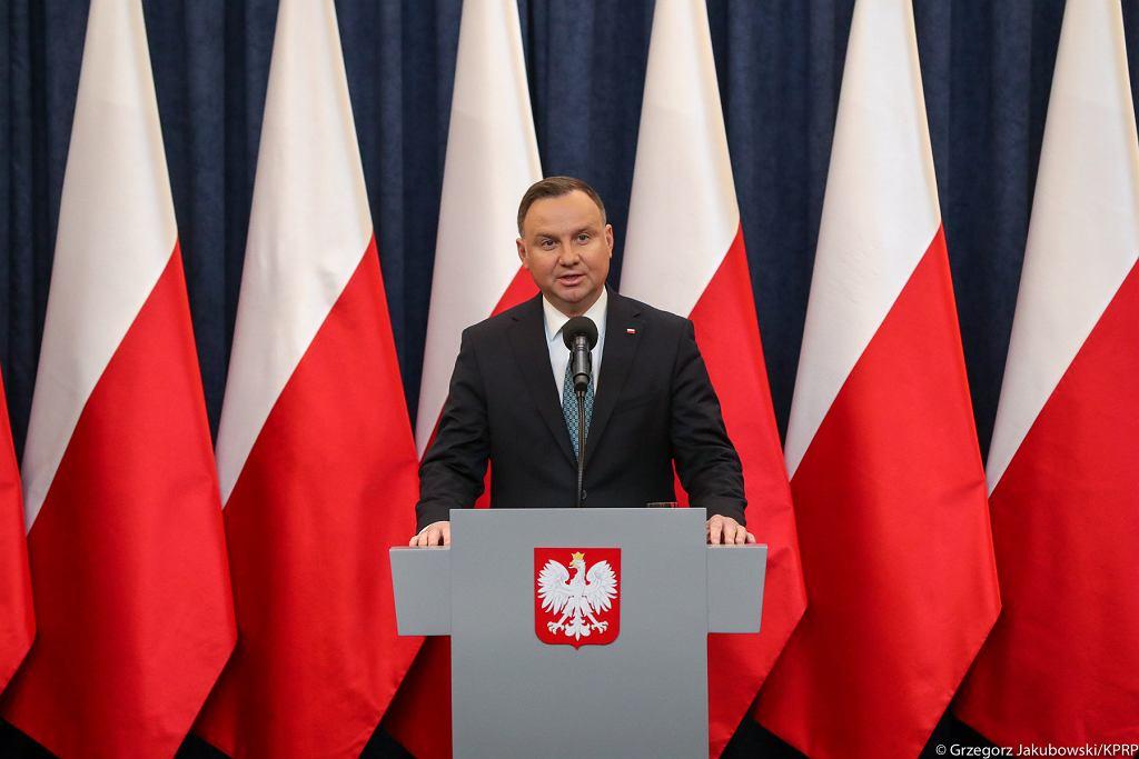 Andrzej Duda podczas konferencji w sprawie zasobów wodnych i retencji.