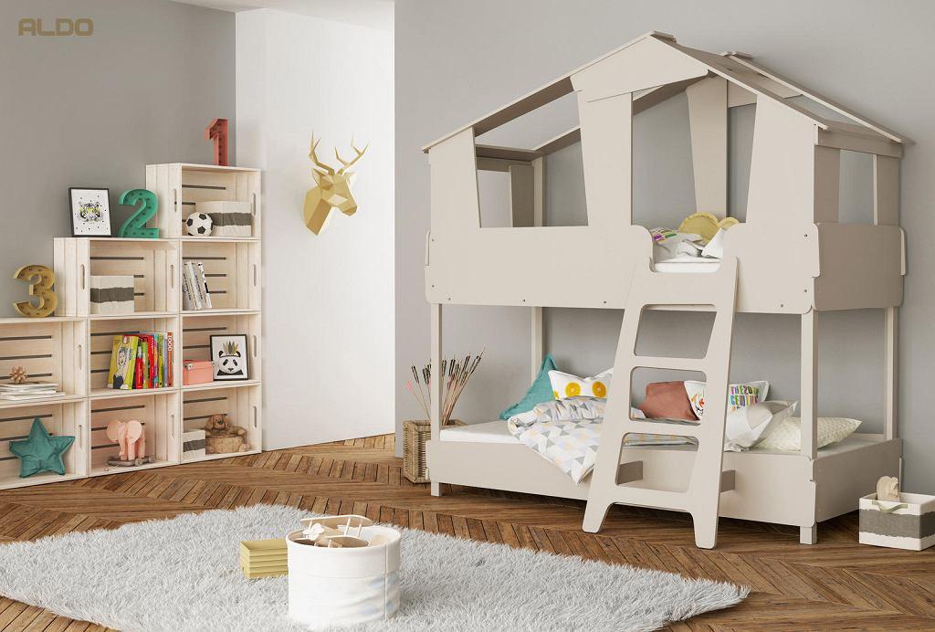 Stylowe łóżko piętrowe domek o niebanalnym kształcie - model Timber