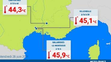 Francja. Rekordy temperatur