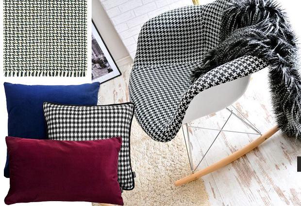 Pepitka - modny wzór we wnętrzach. Świetne fotele i dodatki