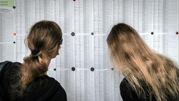 Uczniowie (i rodzice) z podwójnego 'rocznika wyklętego' doświadczają 'deformy' edukacji - szukając swoich nazwisk na liście przyjętych do szkoły. II LO im. M. Konopnickiej, Katowice, 16 lipca 2019