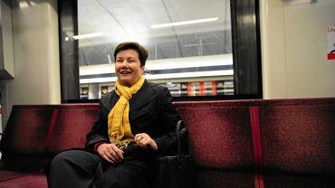 wPrezydent Warszawy Hanna Gronkiewicz Waltz w pierwszym pelnym kursie metra po zamknieciu stacji Centrum i Swietokrzyska