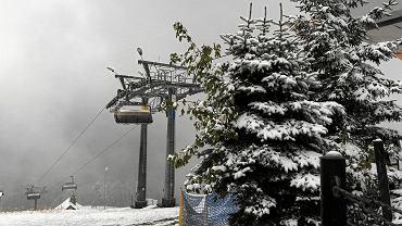 Pierwszy jesienny śnieg na Gubałówce w Zakopanem