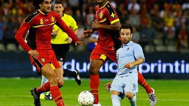 Sparing Francji z Belgią. Mathieu Valbuena (167 cm) kontra Marouane Fellaini i Vincent Kompany (po 193 cm)