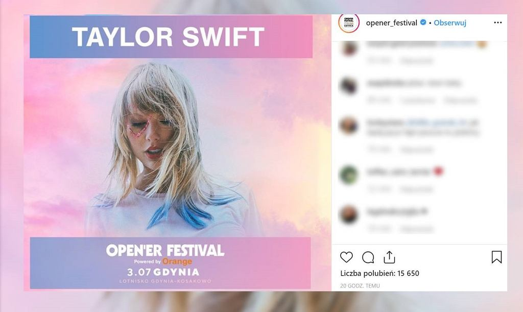 Taylor Swift na Open'er Festival