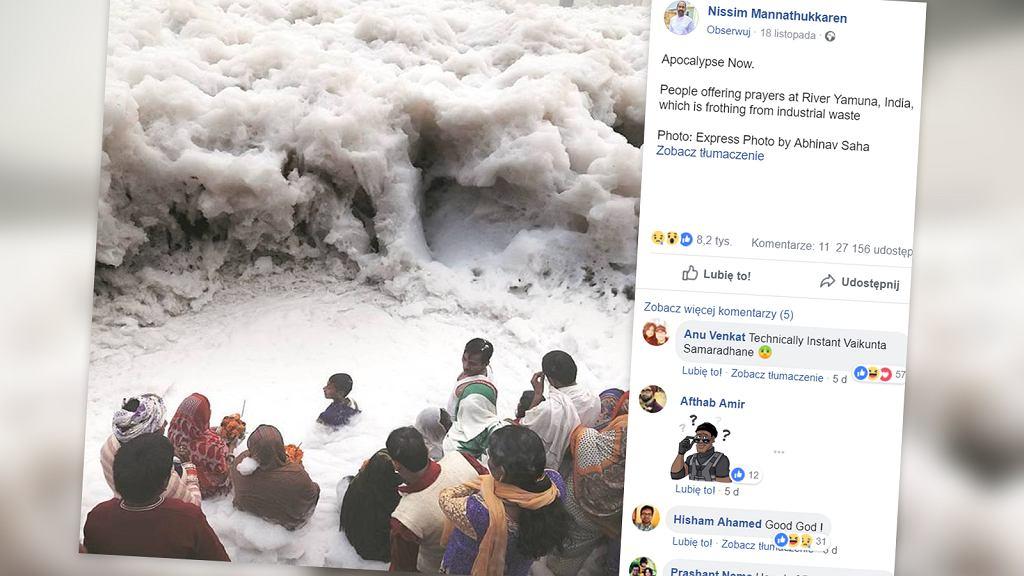 Jamuna w Indiach przestała przypominać rzekę przez ogrom zanieczyszczeń. Internauci z całego świata dzielą się smutnym zdjęciem, które ją przedstawia