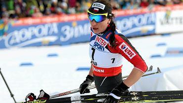 Justyna Kowalczyk na mecie biegu na 30 km podczas MŚ w Falun