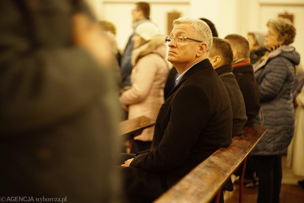 Msza św. w intencji prezydenta Poznania Jacka Jaśkowiaka odprawiana przez ks. Daniela Wachowiaka