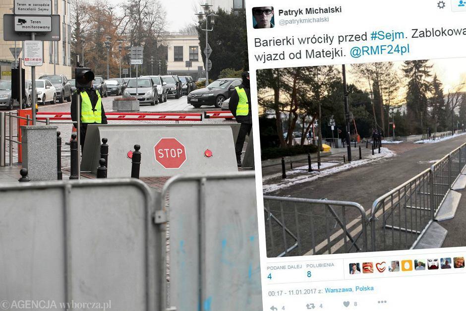 Barierki wróciły przed Sejm