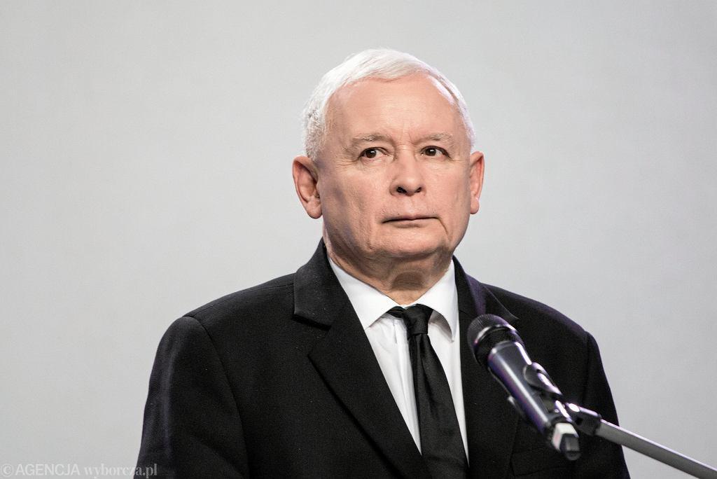 Prezes PiS Jarosław Kaczyński podczas konwencji wyborczej swojej partii. Warszawa, 6 listopada 2018