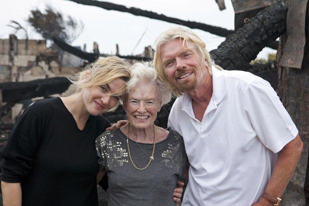 Kate Winslet i Richard Branson z matką Eve