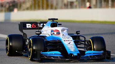 20.02.2019, George Russell za kierownicą nowego bolidu Williamsa na torze Circuit de Catalunya w Montmelo pod Barceloną.