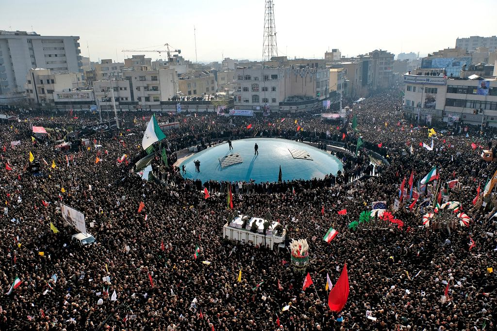Uroczystości upamiętniające zamordowanego gen. Kassima Sulejmaniego, Teheran, 6 stycznia 2020 r.