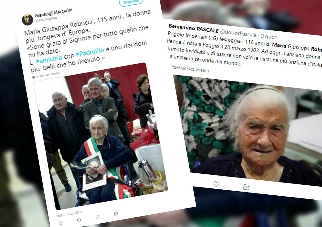 Włochy. Maria Giuseppa Robucci najstarszą Europejką. Skończyła 116 lat