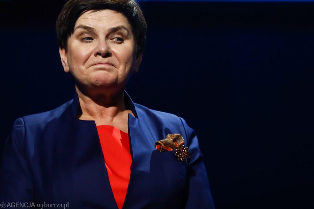 Była premier, obecna wicepremier rządu PiS Beata Szydło podczas Europejskiego Kongresu Samorządów (pierwszy dzień ogólnopolskiego strajku nauczycieli). Kraków, 8 kwietnia 2019