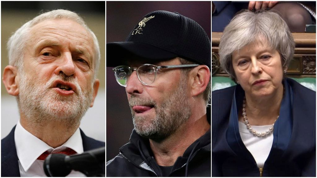 Jeremy Corbyn, Juergen Klopp i Theresa May
