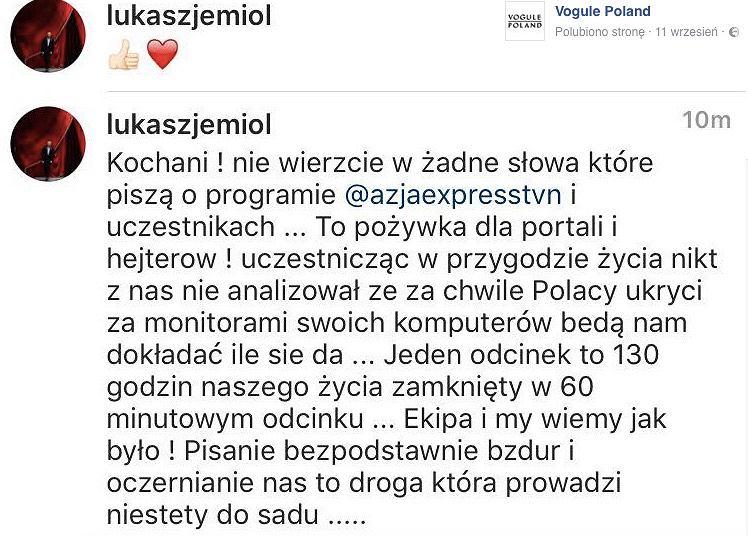 Screen postu Łukasza Jemioła