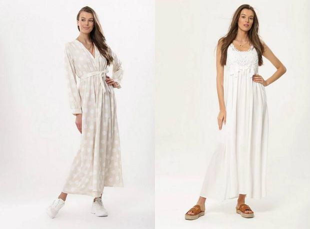 Długie, białe sukienki z delikatnych materiałów