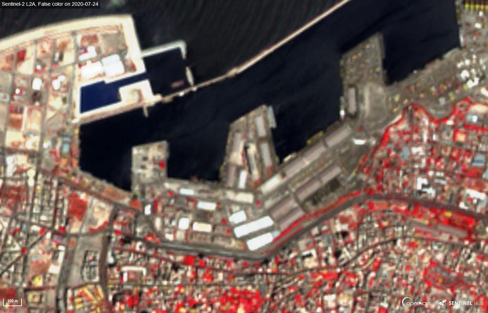 Roślinność (na czerwono) w Bejrucie przed wybuchem