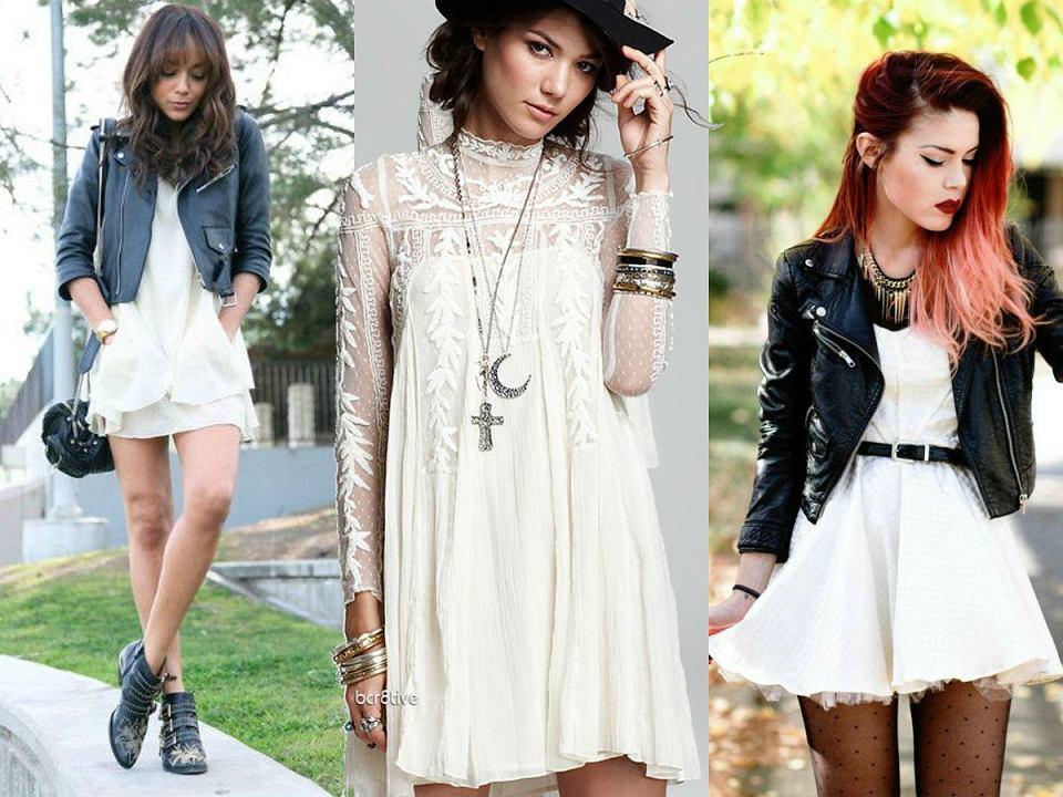 Biała sukienka na rockowo (zdj. pinterest.com)
