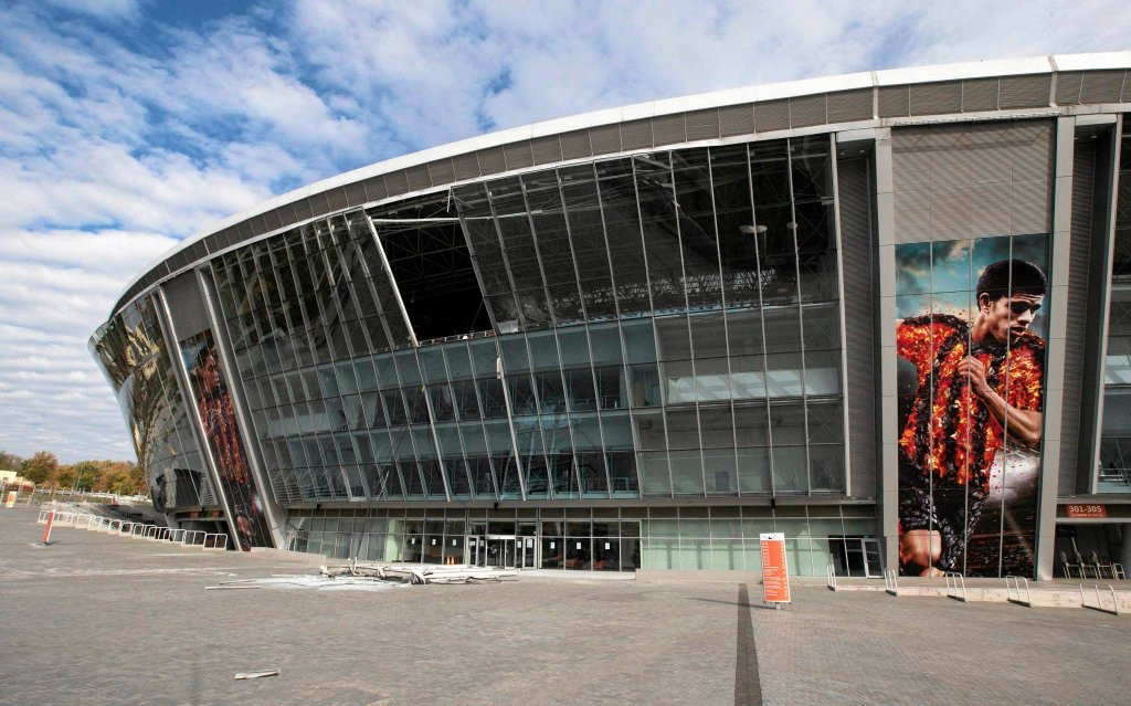 Uszkodzony stadion Szachtara Donieck - Donbass Arena