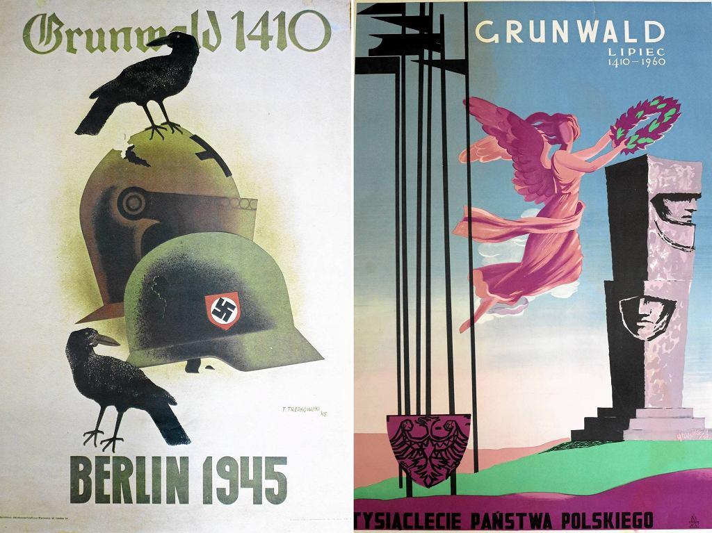 Grunwaldzkie plakaty propagandowe: Tadeusza Trepkowskiego z 1945 r. i wykonany w 550. rocznicę bitwy, inaugurujący też jubileusz tysiąclecia państwa polskiego