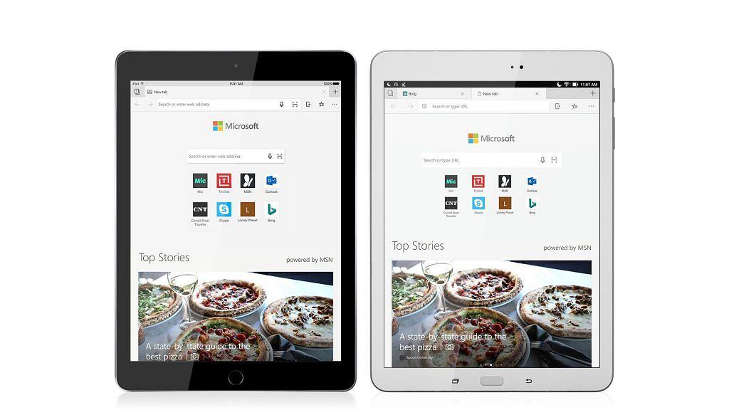 Microsoft Edge na tablety z iOS i Androidem