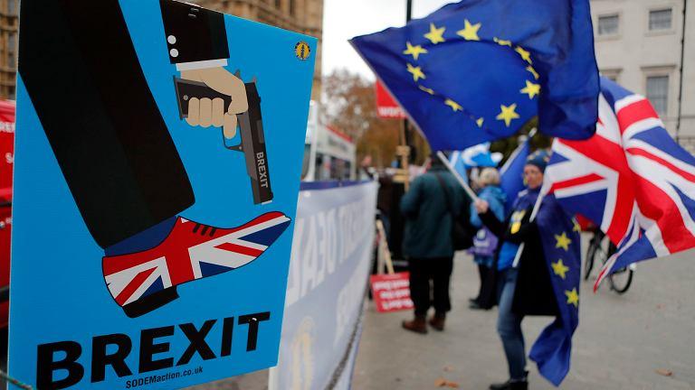 manifestacja przeciwników Brexitu przed brytyjskim parlamentem w Londynie, 6 grudnia 2018.
