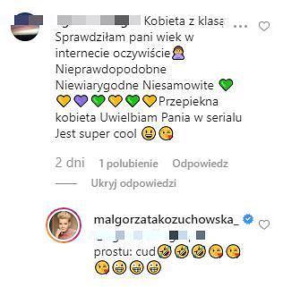 Komentarze na profilu Małgorzaty Kożuchowskiej na Instagramie