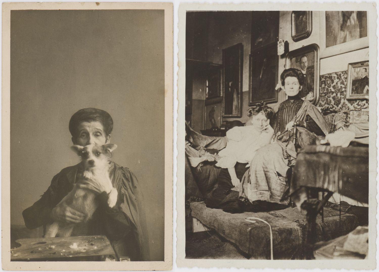 Z lewej Olga z psem w Krakowie w 1930 r., z prawej Boznańska i Maria Kraszewska w atelier Boznańskiej w Paryżu ok. 1900 r. (fot. Biblioteka Polska w Paryżu)