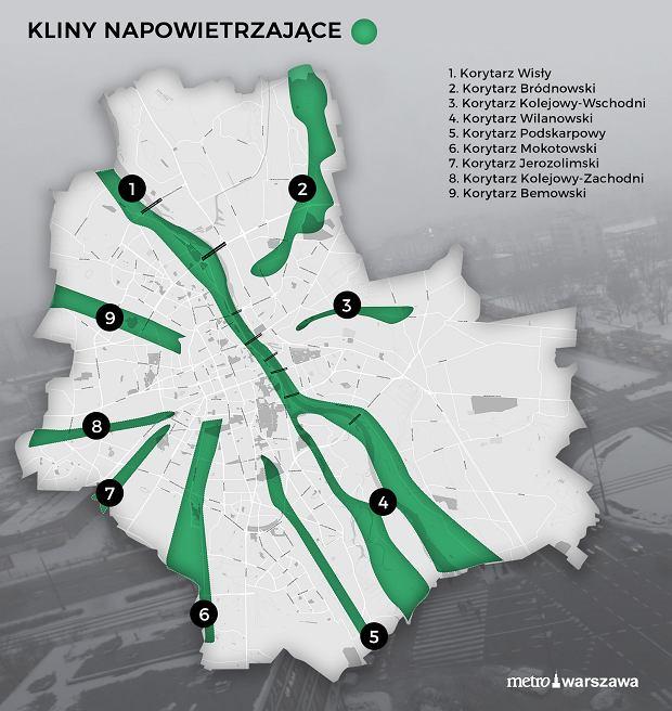 Kliny napowietrzające Warszawy