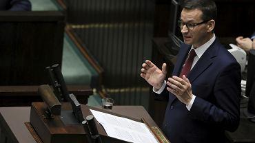 Premier Mateusz Morawiecki podczas expose w Sejmie
