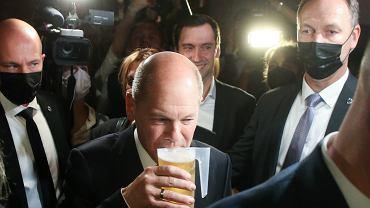 Olaf Scholz, kandydat SPD na kanclerza na wieczorze wyborczym