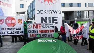 Protest w Warszawie przeciw odkrywkowej kopalni węgla w Złoczewie (marzec 2019)