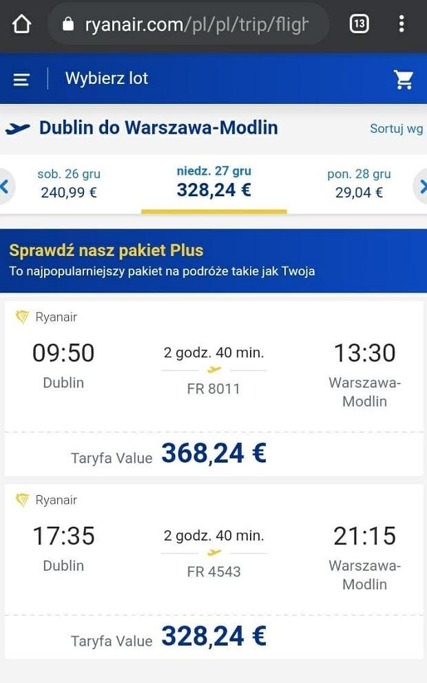 Screen ze strony Ryanair