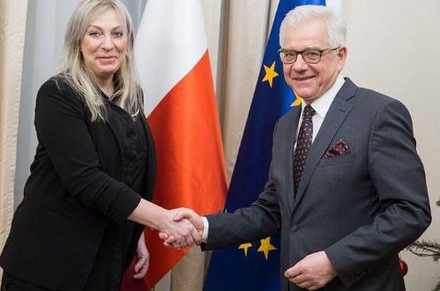 Ambasador Beata Pęksa i szef MSZ - Jacek Czaputowicz