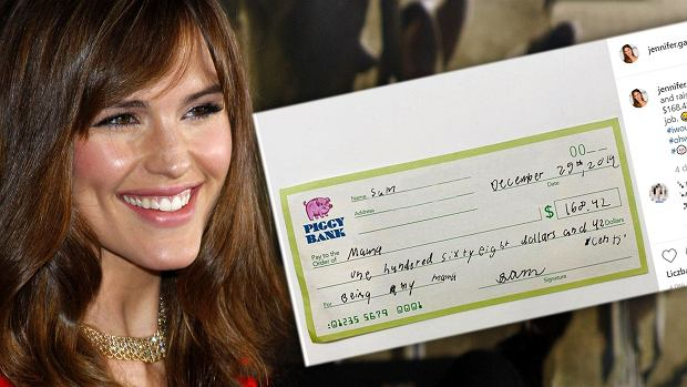 Syn wystawił Jennifer Garner czek na 168,42 dolary. Za co? Najbardziej urocza rzecz na świecie