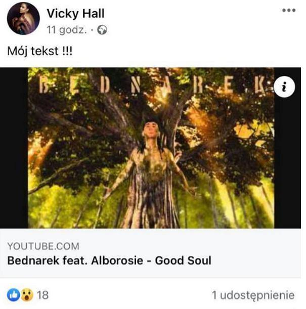 Post na profilu facebookowym Vicky Hall