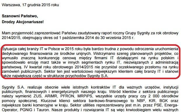 Fragment listy prezesa Sygnity do akcjonariuszy spółki