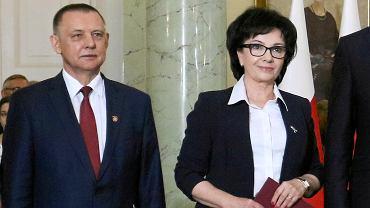 Szef NIK-u Marian Banaś i marszałek Sejmu Elżbieta Witek.