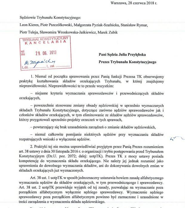 List sędziów TK do Julii Przyłębskiej