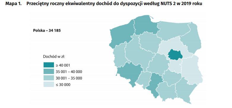Dochód rozporządzalny w regionach Polski wg klasyfikacji unijnej (NUTS 2).
