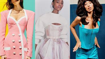 Gorsety na 2021 w kolekcji domów mody: Balmain, Alexander McQueen, Christopher John Rogers