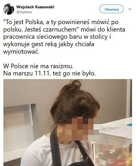 Incydent w barze w Warszawie