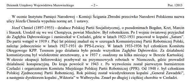 Zarządzenie zastępcze Wojewody Mazowieckiego z dnia 13 grudnia 2017 r. w sprawie nadania nazwy ulicy
