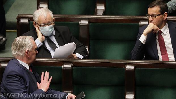 Jarosław Kaczyński, Jarosław Gowin i Mateusz Morawiecki podczas 11 Posiedzenia Sejmu IX Kadencji. Warszawa,12 maja 2020
