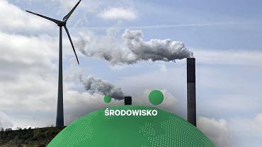 Elektrownia węglowa i sąsiadująca z nią elektrownia wiatrowa w Niemczech.