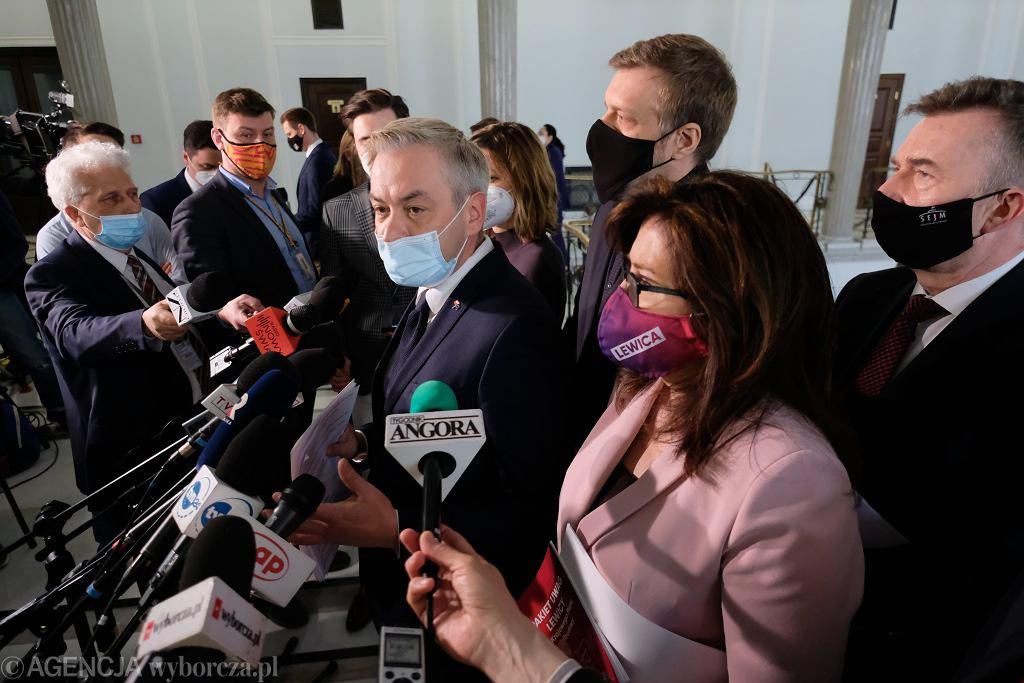27.04.2021, Sejm, konferencja prasowa polityków Lewicy.